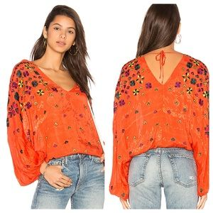 Free People Music in Time Top Embroidered NWOT